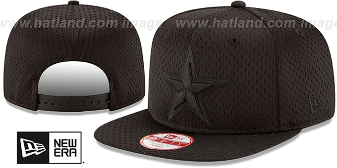 Cowboys 'JERSEY MESH TONAL SNAPBACK' Black Hat by New Era : pictured without stickers that these products are shipped with