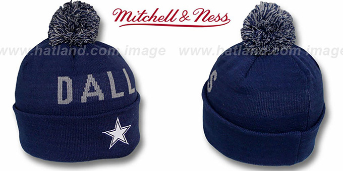 Cowboys 'KNIT BEANIE' Navy Knit Hat by Mitchell and Ness : pictured without stickers that these products are shipped with