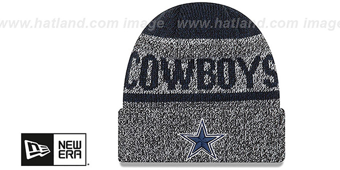 Cowboys 'LAYERED CHILL' Navy-Grey Knit Beanie Hat by New Era