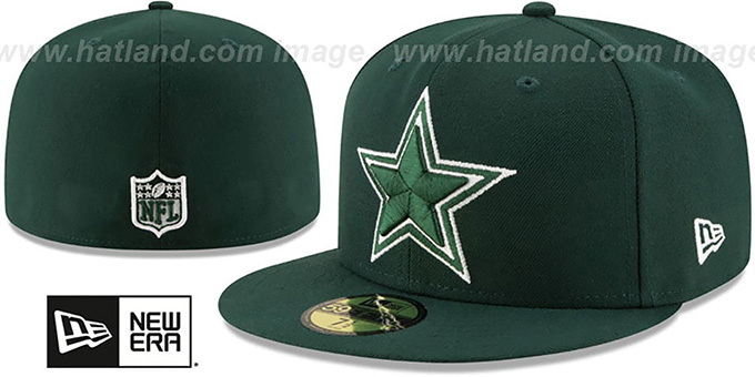 Cowboys 'LEAGUE BASIC' Green Fitted Hat by New Era : pictured without stickers that these products are shipped with