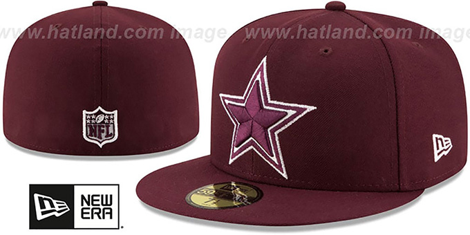 Cowboys 'LEAGUE BASIC' Maroon Fitted Hat by New Era : pictured without stickers that these products are shipped with