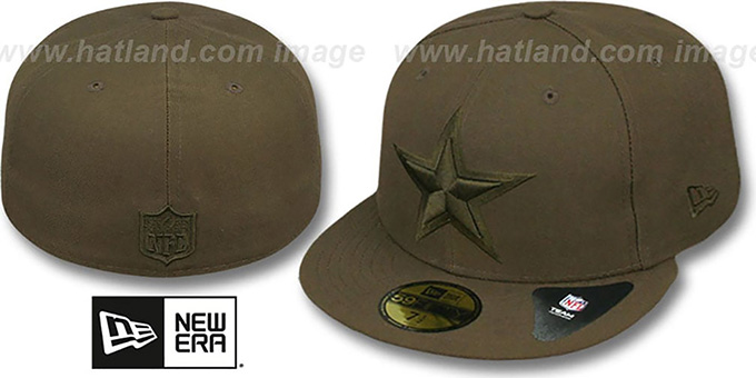 Cowboys 'LEAGUE BASIC TONAL' Brown Fitted Hat by New Era : pictured without stickers that these products are shipped with