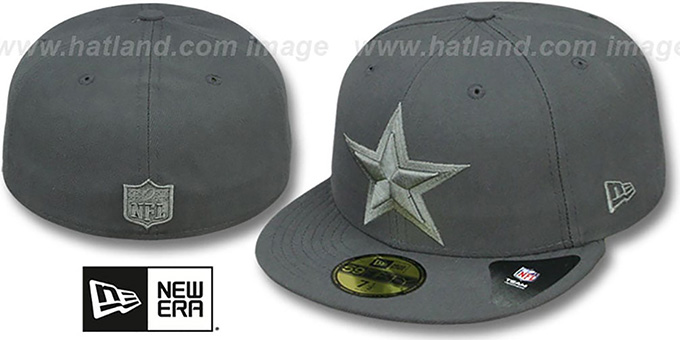Cowboys 'LEAGUE BASIC TONAL' Charcoal Fitted Hat by New Era : pictured without stickers that these products are shipped with
