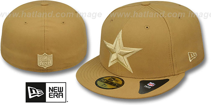 Cowboys 'LEAGUE BASIC TONAL' Wheat Fitted Hat by New Era : pictured without stickers that these products are shipped with