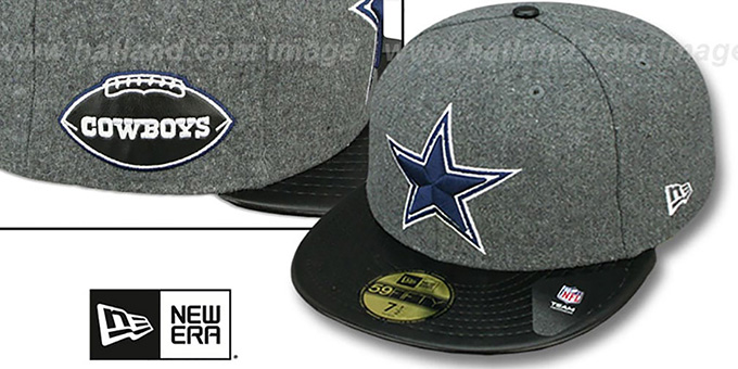 Cowboys 'LEATHER-MELT' Grey-Black Fitted Hat by New Era : pictured without stickers that these products are shipped with