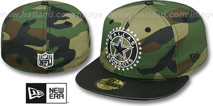 Cowboys 'LEATHER TAG' Army-Black Fitted Hat by New Era : pictured without stickers that these products are shipped with