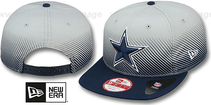 Cowboys 'LINE FADE SNAPBACK' Grey-Navy Hat by New Era : pictured without stickers that these products are shipped with