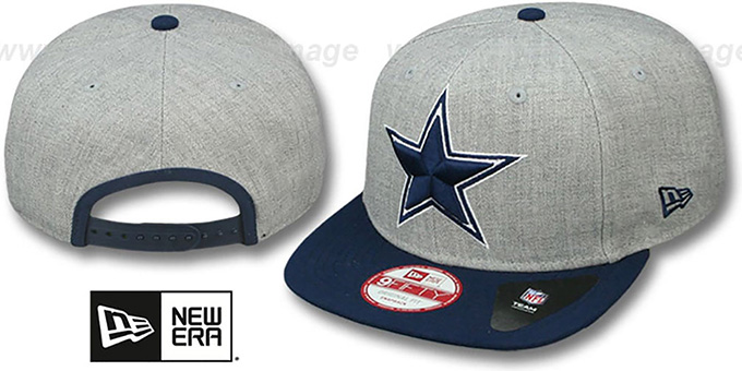 Cowboys 'LOGO-GRAND - 2 SNAPBACK' Grey-Navy Hat by New Era : pictured without stickers that these products are shipped with