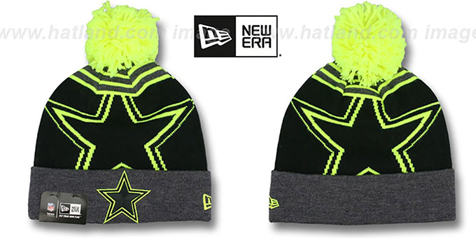 Cowboys 'LOGO WHIZ' Black-Charcoal-Lime Knit Beanie Hat by New Era : pictured without stickers that these products are shipped with