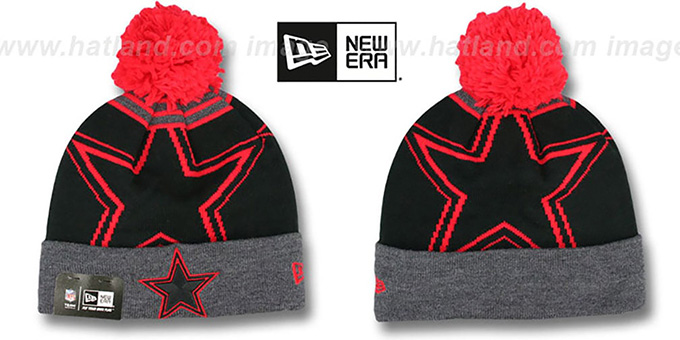 Cowboys 'LOGO WHIZ' Black-Grey-Red Knit Beanie Hat by New Era : pictured without stickers that these products are shipped with