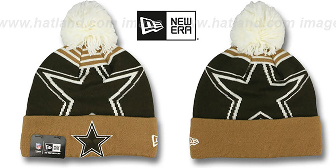 Cowboys 'LOGO WHIZ' Brown-Wheat Knit Beanie Hat by New Era : pictured without stickers that these products are shipped with