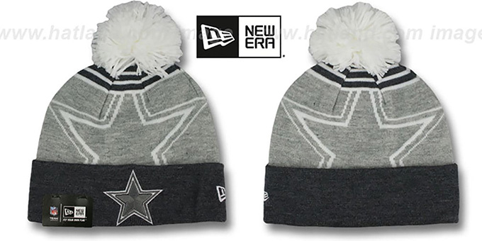 Cowboys 'LOGO WHIZ' Grey-Charcoal Knit Beanie Hat by New Era : pictured without stickers that these products are shipped with