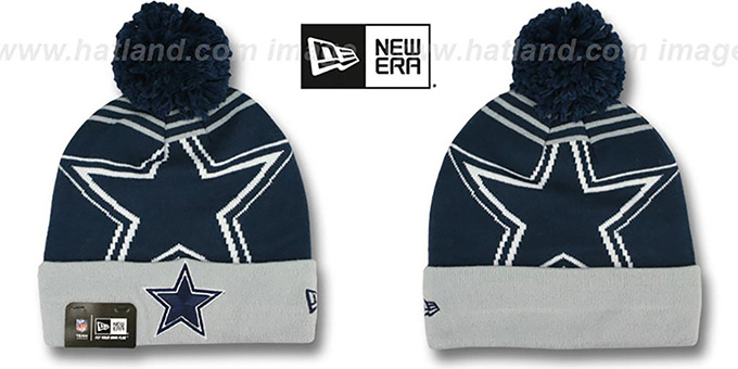 Cowboys 'LOGO WHIZ' Navy-Grey Knit Beanie Hat by New Era : pictured without stickers that these products are shipped with