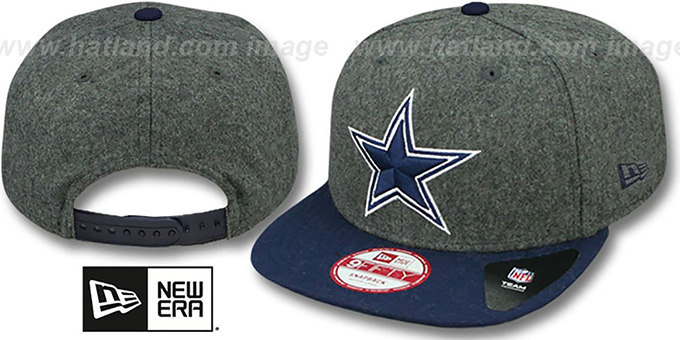 Cowboys 'MELTON MOTION SNAPBACK' Grey-Navy Hat by New Era : pictured without stickers that these products are shipped with