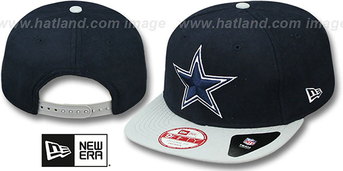 Cowboys 'MELTON MOTION SNAPBACK' Navy-Grey Hat by New Era : pictured without stickers that these products are shipped with
