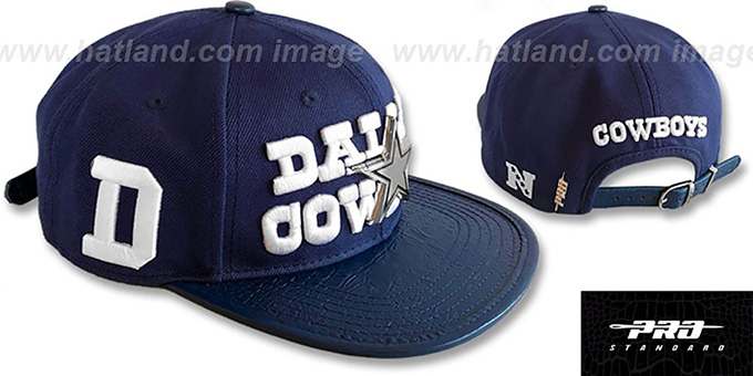 73b0463997d0d Cowboys  METAL-BADGE STRAPBACK  Navy Hat by Pro Standard