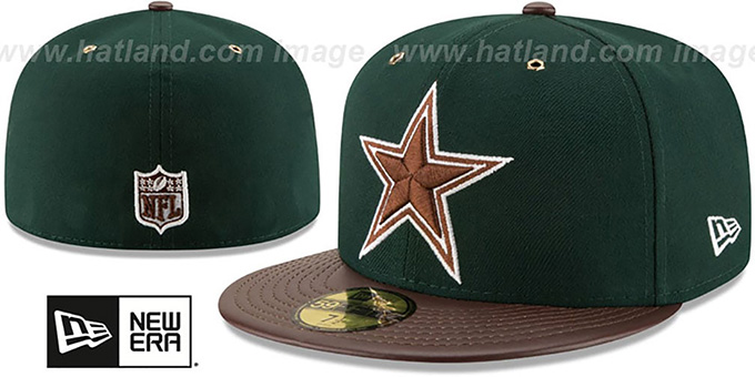 Cowboys 'METAL HOOK' Green-Brown Fitted Hat by New Era : pictured without stickers that these products are shipped with