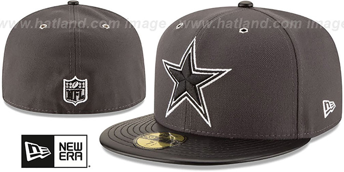 Cowboys 'METAL HOOK' Grey-Black Fitted Hat by New Era : pictured without stickers that these products are shipped with