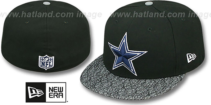 Cowboys 'METRIC-VIZA' Black-Grey Fitted Hat by New Era : pictured without stickers that these products are shipped with