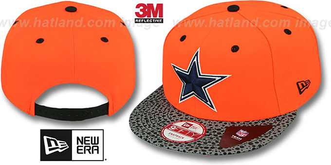 Cowboys 'NEON REFLECT HOOK SNAPBACK' Orange Hat by New Era : pictured without stickers that these products are shipped with