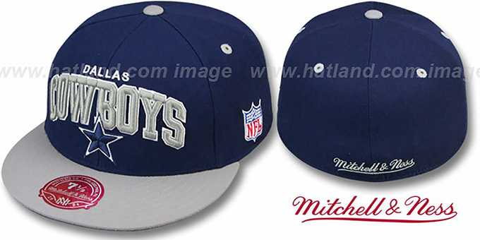 Cowboys 'NFL 2T ARCH TEAM-LOGO' Navy-Grey Fitted Hat by Mitchell and Ness : pictured without stickers that these products are shipped with