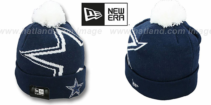 Cowboys 'NFL-BIGGIE' Navy Knit Beanie Hat by New Era : pictured without stickers that these products are shipped with
