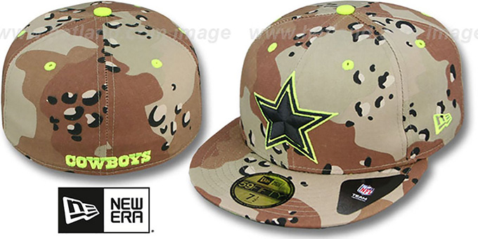 Cowboys 'NFL CAMO-POP' Desert Storm-Lime Fitted Hat by New Era : pictured without stickers that these products are shipped with