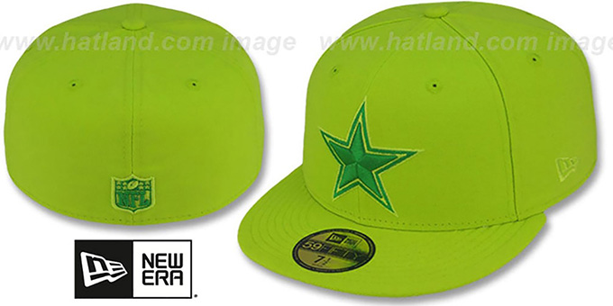 Cowboys 'NFL CYBER TONAL POP' LemonLime Fitted Hat by New Era : pictured without stickers that these products are shipped with