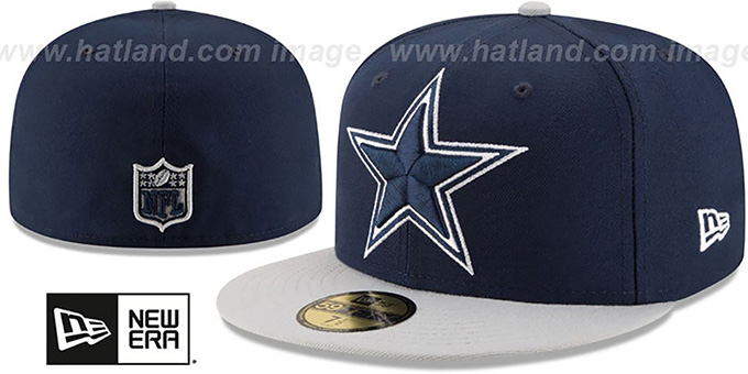 Cowboys 'NFL LOGO-GRAND' Navy-Grey  Fitted Hat by New Era : pictured without stickers that these products are shipped with