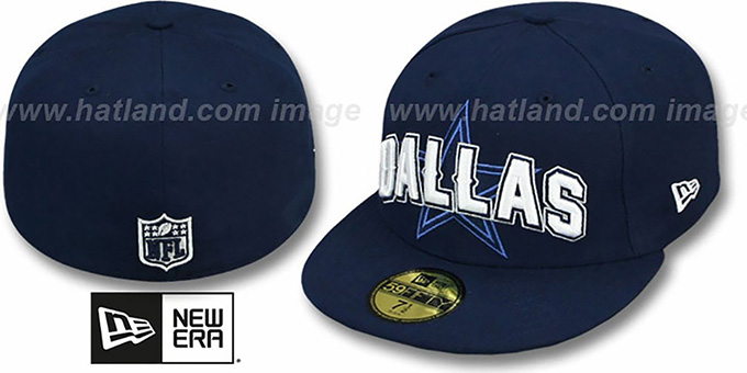 Cowboys 'NFL ONFIELD DRAFT' Navy Fitted Hat by New Era : pictured without stickers that these products are shipped with