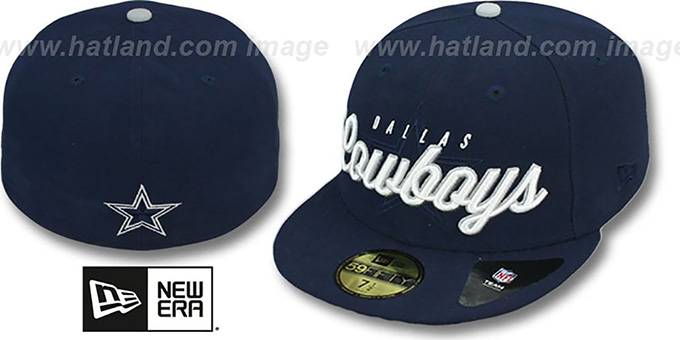 Cowboys 'NFL SCRIPTOVER' Navy Fitted Hat by New Era : pictured without stickers that these products are shipped with