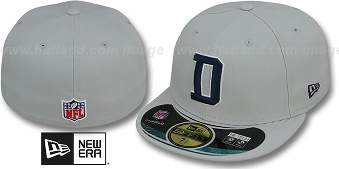 Cowboys 'NFL STADIUM' D Grey Fitted Hat by New Era : pictured without stickers that these products are shipped with