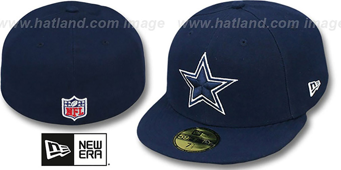 Cowboys 'NFL STADIUM STAR' Navy Fitted Hat by New Era : pictured without stickers that these products are shipped with