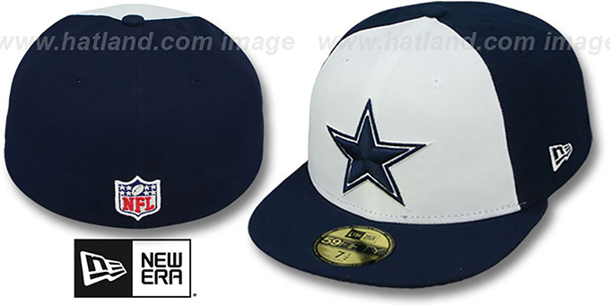 Cowboys 'NFL STADIUM STAR' White-Navy Fitted Hat by New Era : pictured without stickers that these products are shipped with