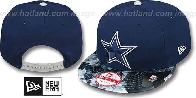 Cowboys 'OPTIC SNAPBACK' Navy Hat by New Era : pictured without stickers that these products are shipped with