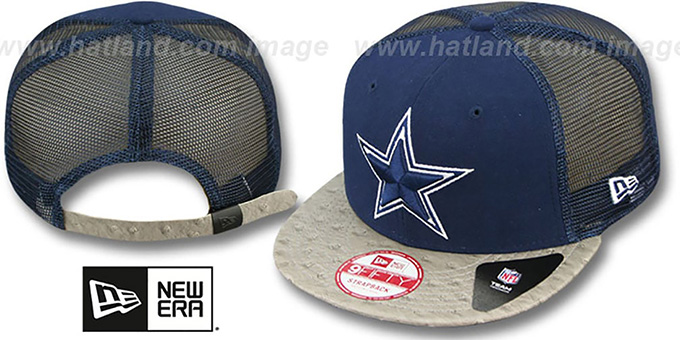 Cowboys 'OSTRAVIZE-MESH STRAPBACK' Navy-Grey Hat by New Era : pictured without stickers that these products are shipped with