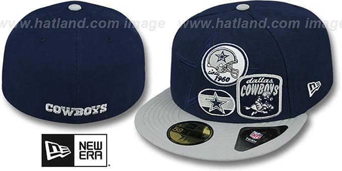 Cowboys 'PATCH-BATCHER' Navy-Grey Fitted Hat by New Era : pictured without stickers that these products are shipped with