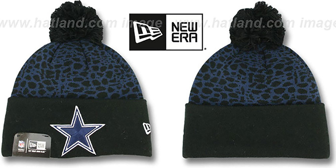 Cowboys 'PEBBLE-POP' Black-Navy Knit Beanie Hat by New Era : pictured without stickers that these products are shipped with