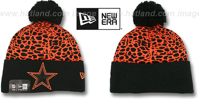 Cowboys 'PEBBLE-POP' Black-Orange Knit Beanie Hat by New Era : pictured without stickers that these products are shipped with