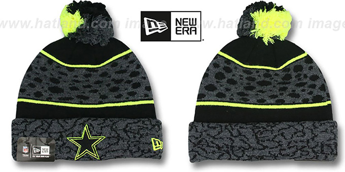 Cowboys 'POLAR PRINT' Black-Grey-Yellow Knit Beanie Hat by New Era : pictured without stickers that these products are shipped with