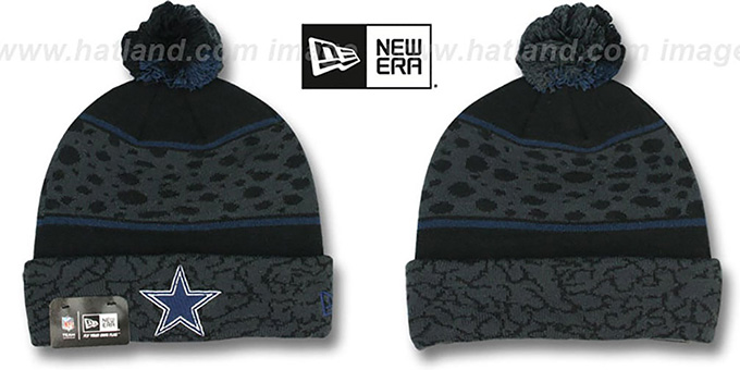 Cowboys 'POLAR PRINT' Black-Grey-Navy Knit Beanie Hat by New Era : pictured without stickers that these products are shipped with