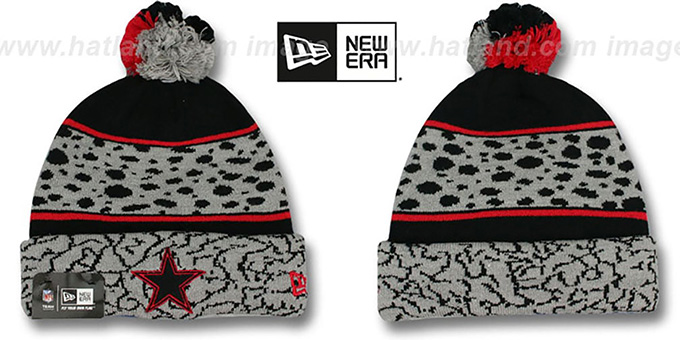 Cowboys 'POLAR PRINT' Black-Grey-Red Knit Beanie Hat by New Era : pictured without stickers that these products are shipped with