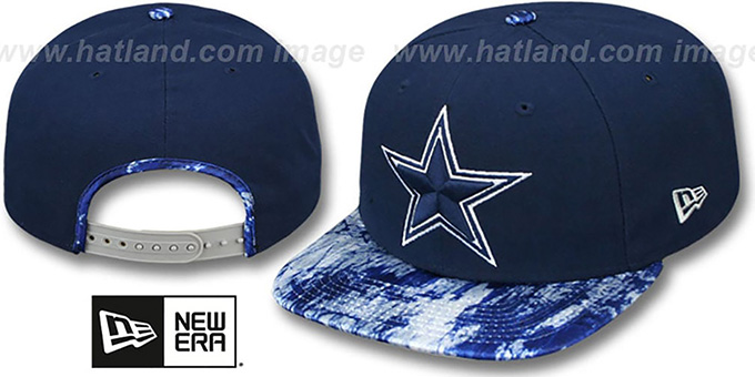 Cowboys 'PRINT PACE SNAPBACK' Navy Hat by New Era : pictured without stickers that these products are shipped with