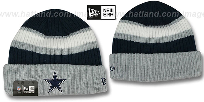 Cowboys 'RIB START' Navy-Grey Knit Beanie Hat by New Era : pictured without stickers that these products are shipped with