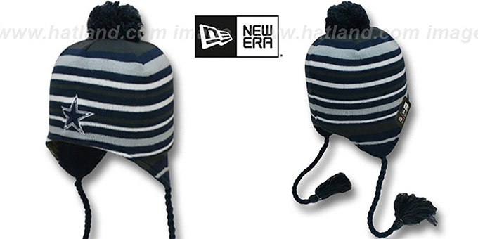 Cowboys 'ROARING FAN' Knit Beanie Hat by New Era : pictured without stickers that these products are shipped with