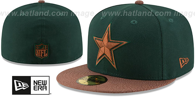 Cowboys 'RUGGED LEATHER' Green-Brown Fitted Hat by New Era : pictured without stickers that these products are shipped with