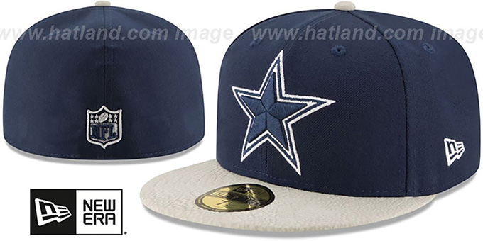 Cowboys 'RUGGED LEATHER' Navy-Grey Fitted Hat by New Era : pictured without stickers that these products are shipped with