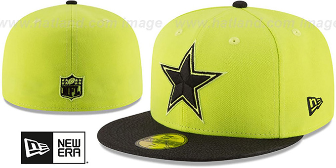 Cowboys 'RUGGED LEATHER' Yellow-Black Fitted Hat by New Era : pictured without stickers that these products are shipped with