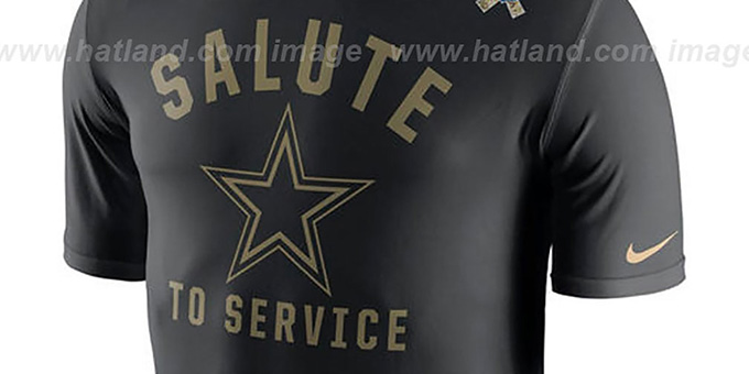 Cowboys 'SALUTE TO SERVICE' Black T-Shirt by Nike : pictured without stickers that these products are shipped with