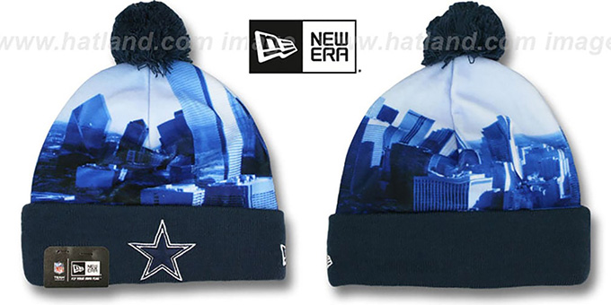 Cowboys 'SCAPE SHOT' Knit Beanie Hat by New Era : pictured without stickers that these products are shipped with